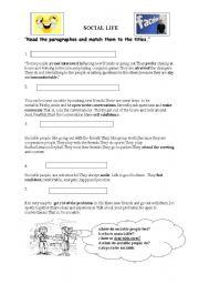 English Worksheets: Social Life
