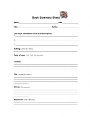 book report summary sheet Use this guide to help your students write a book report.