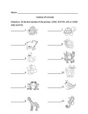 english worksheets habitat of animals. Black Bedroom Furniture Sets. Home Design Ideas