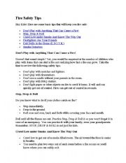 English Worksheets: fire safety tips