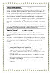 English Worksheets: Introduction to Socail sciences