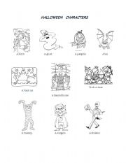 English Worksheets: Hallowen characthers