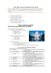 English Worksheet: Video: National Geographic Secrets Of The Taj Mahal