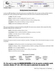 English Worksheets: grade nine , unit1 vocab the big question