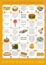 English Worksheets: Food Boardgame