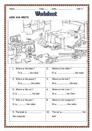 English Worksheet: using in,on,under,next to to talk about location