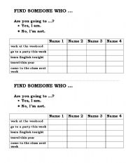 English Worksheet: going to - find someone who
