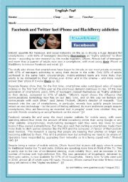 English Worksheet: TEST- FACEBOOK AND TWITTER FUEL iPHONE AND BLACKBERRY ADDICTION