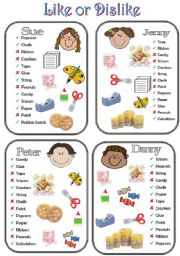 English Worksheet: Like or Dislike_Has or Doesn�t Have