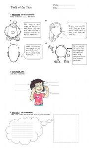 English Worksheets: Parts of the face and