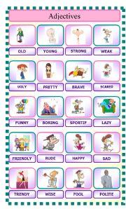 English Worksheet: Pictionary: Adjectives