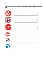 English Worksheet: Road signs and Modals