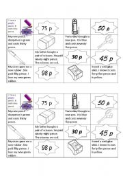 English Worksheet: School equipment, colours and big numbers.