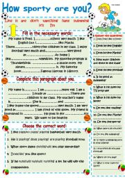 English Worksheets: How sporty are you? Speaking, reading, writing and grammar activities.