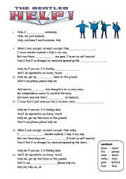 English Worksheets: mixed exercises for HELP by the beatles (2 pages)