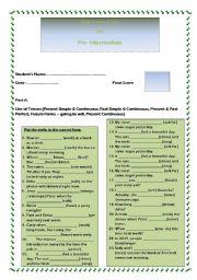 English Worksheet: Final Grammar Test for Pre-Intermediate