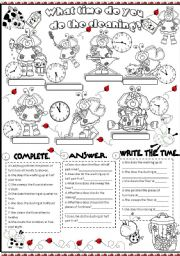 English Worksheet: what time do you do the cleaning?