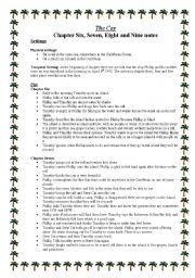 English Worksheets: The Cay - Chapter 6, 7, 8 and 9 notes