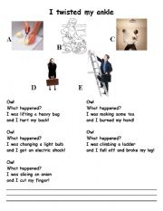 English Worksheet: Jazz Chant I twisted my ankle