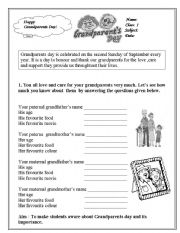 English Worksheets: grandparents day ws