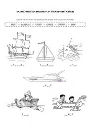 water means of transportation esl worksheet by gabriela. Black Bedroom Furniture Sets. Home Design Ideas