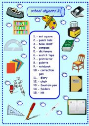 English Worksheet: school objects matching 3/3