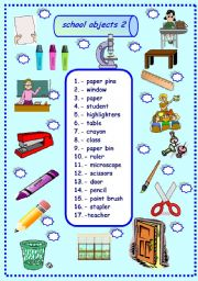 English Worksheet: school objects matching 2/3