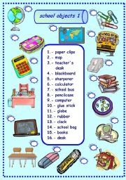 English Worksheet: school objects matching 1/3