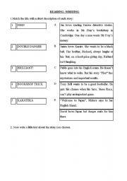 English Worksheets: READING WRITING EXERCISE II