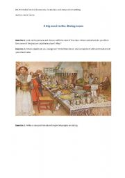 English Worksheet: A big meal in the dining room