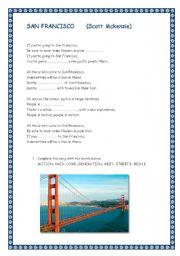 English Worksheet: SAN FRANCISCO. Song by Scott Mckenzie