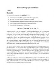 English Worksheets: Australia geography and nature