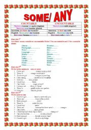 English worksheet: some and  any  with countable and uncountable nouns