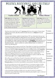 English Worksheet: Politics,Roc�n�Roll and Life Itself