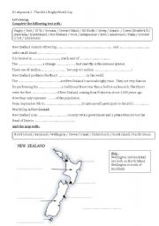 English Worksheet: The 2011 rugby world cup