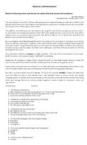 English Worksheets: Reading comprehension about disasters