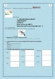 English worksheet: Winnie and the ABC song