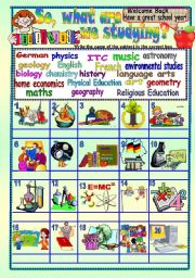 English Worksheet: So, What Are We Studying (school subjects) B/W & Answer Key - EDITABLE