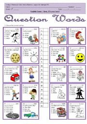 English Worksheet: Question Words - Multiple choice
