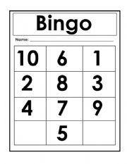 English Worksheets: Bingo Nuumbers 1-10