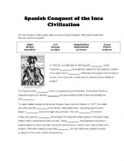 English worksheets: Spanish conquest of the inca civilization