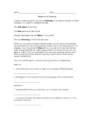 English Worksheets: Metaphorical and Literal Meanings