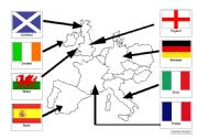 English Worksheet: Simple NW Europe map with flags and names