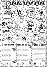 English Worksheet: buzzy busy bees