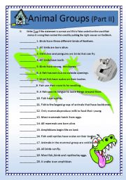 English Worksheet: Science: Animals Classification (Q&A) Part II