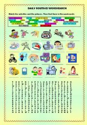 English Worksheets: Daily routines crossword + key