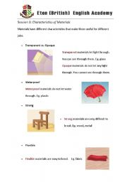 English Worksheets: material worksheet3