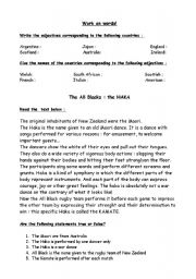 English Worksheet: RUGBY WORLD CUP:THE HAKA from NEW ZEALAND+nationalities and adjectives