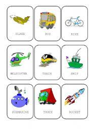 English Worksheets: Transportation cards