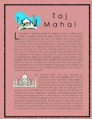 English Worksheet: Wonder of the World Story series 2 ( Taj Mahal)